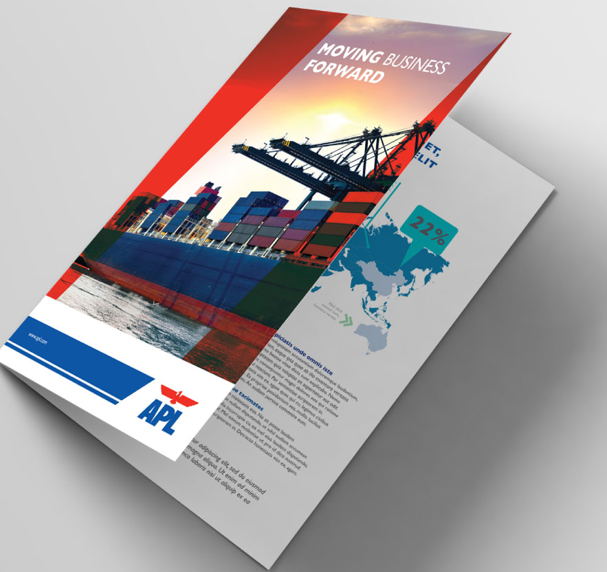 Brochure Design, Brand Identity, Brand revamp, Stationery Design for Shipping company APL