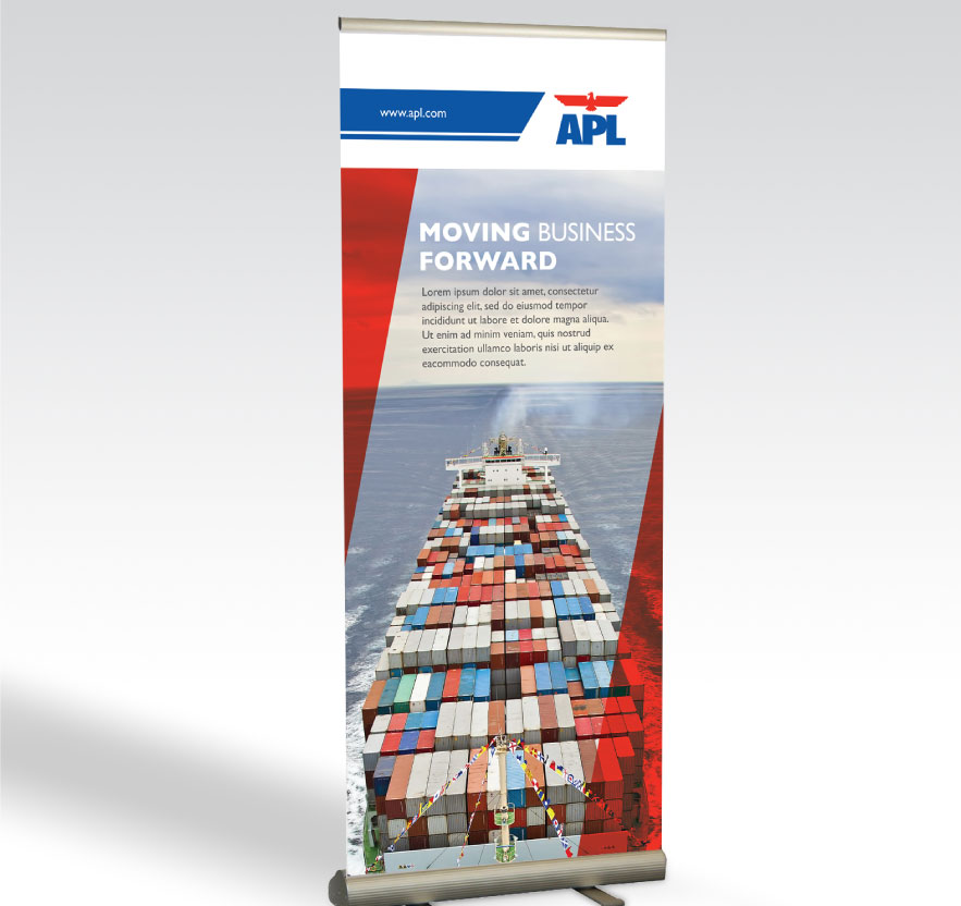 Pullup banner, Brand Identity, Brand revamp, Stationery Design for Shipping company APL