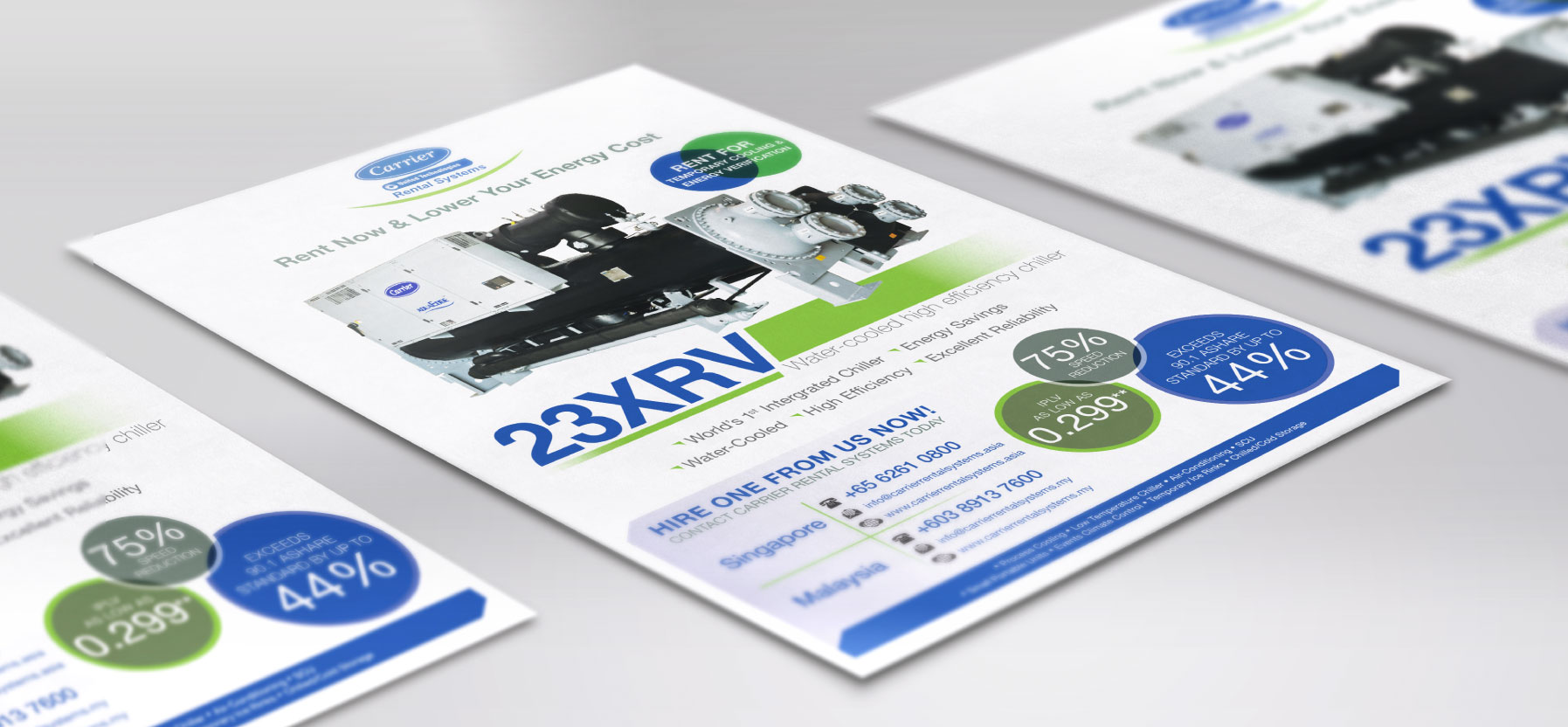 Creative art direction, concept and design layout for Carrier corporate folder and profile