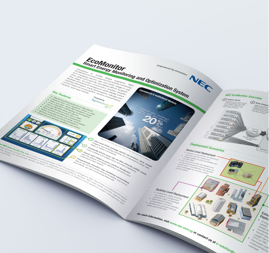 Creative art direction, concept and design layout for NEC corporate folder and profile