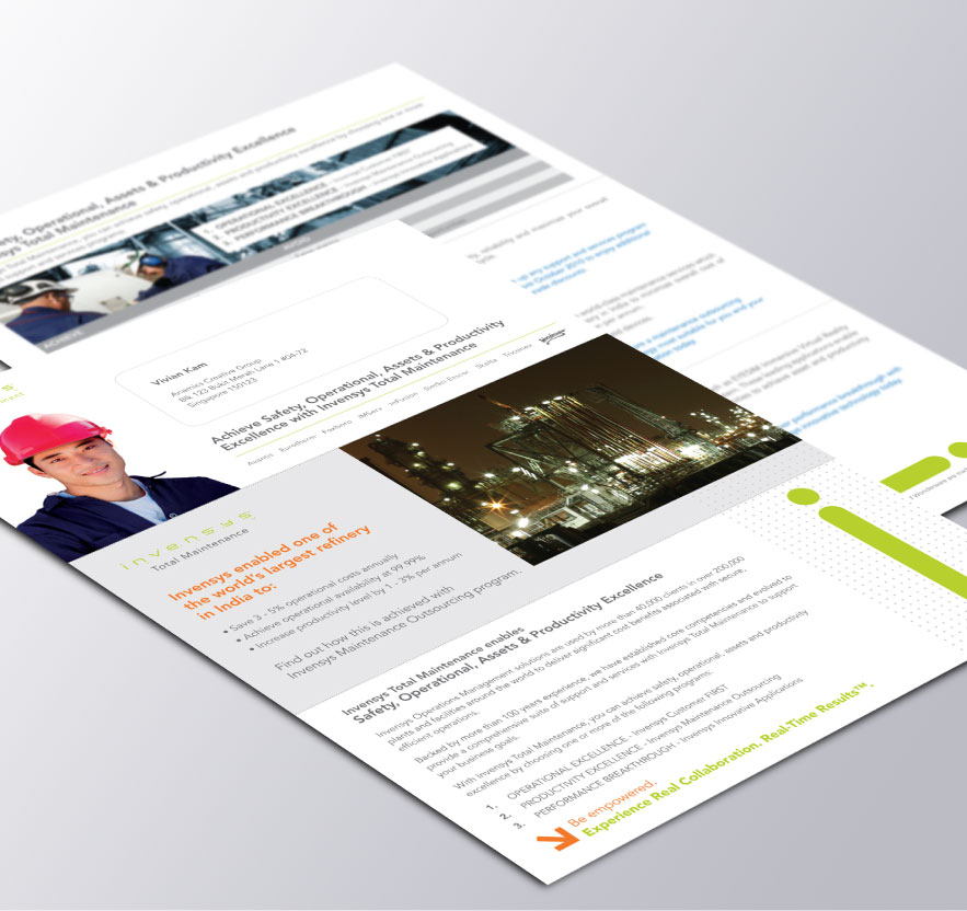 Creative art direction, concept and design layout for Invensys corporate folder and profile