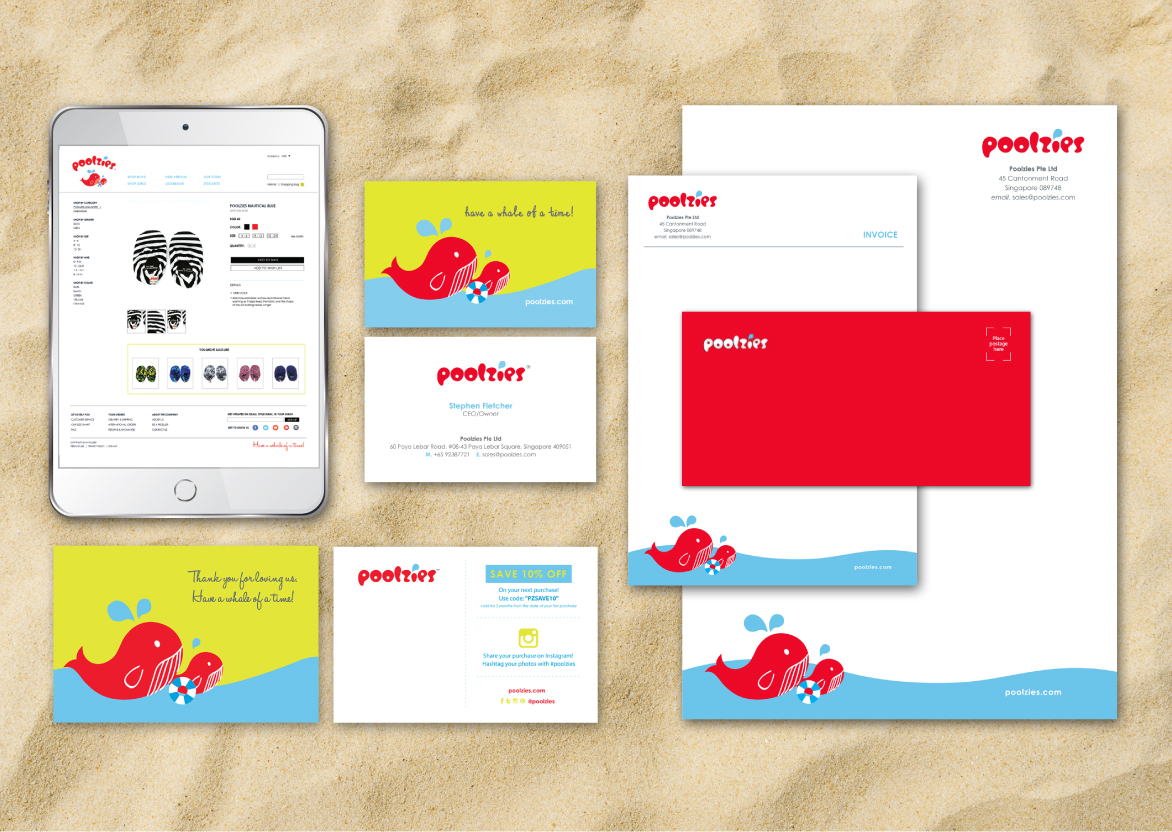 Brand Guide, Brand Identity, Logo Design, Stationery Design for Children pool shoes