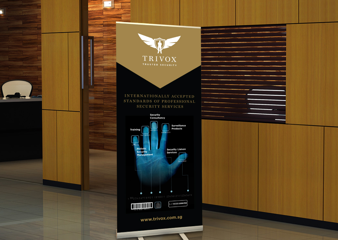 brand revitalisation Brand Identity, Logo Design, Pull up banner for Security Services Company Trivox