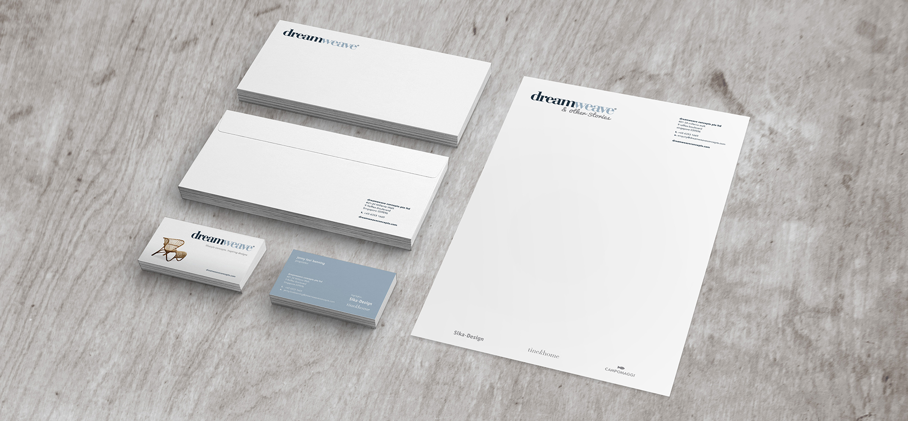 brand identity stationery design for outdoor indoor furniture company