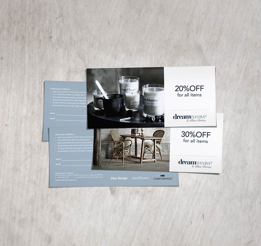 brand identity voucher design for outdoor indoor furniture company
